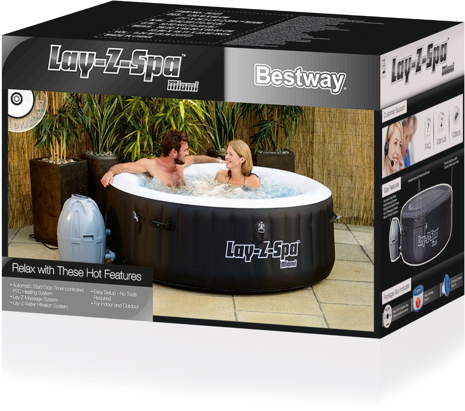 bestway whirlpool lay z spa miami 180x65 cm mit pumpe zubeh r in ovp neu. Black Bedroom Furniture Sets. Home Design Ideas